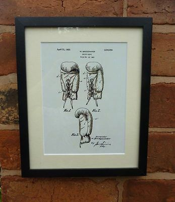 "USA Patent drawing Vintage BOXING GLOVES sport Mounted PRINT 10"" x 8"" 1923 Gift"