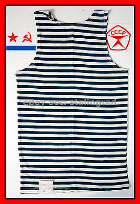 FREE SHIPPING Sz.58 DARK BLUE Striped Sleeveless sailors T-Shirt TELNYASHKA NAVY