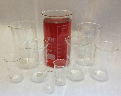 Borosilicate Glass Beakers, Tall-Form , 50 100 150 250 400 500 600 800ml, 1 & 2L