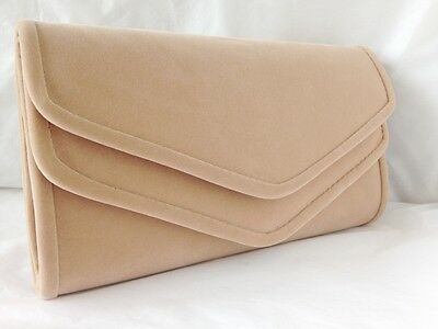 New Nude Velvet Evening Day Clutch Bag Shoulder Wedding Xmas Prom Club Party