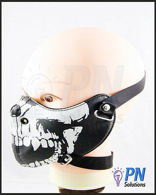 Harley Style Motorcycle Face Mask Respirator - Skull Face - Leather - Black