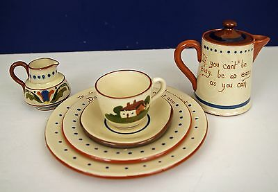 VINTAGE TORQUAY 6Pce. SET DARTMOUTH WATCOMBE CUP SAUCER PLATES HOT WATER CREAMER