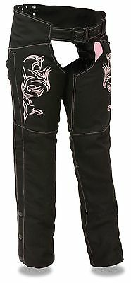 Women's Motorcycle Motorbike Textile Chap W/pink Reflective Embroidery Black New