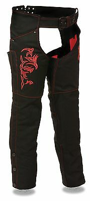 Women's Motorcycle Motorbike Textile Chap Red Reflective Embroidery Black New