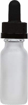 300 Pack Frosted Glass Bottle w/ Black Child Resistant Glass Dropper 0.5 oz