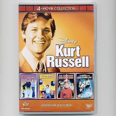 4 Disney Kurt Russell G kids family movies, new DVDs over 6 hours of comedy fun