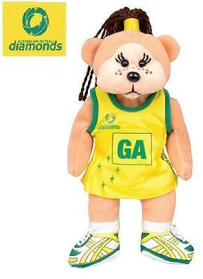 New Australian Netball Diamonds Beanie Kids Bear with Tags GA Dark Hair