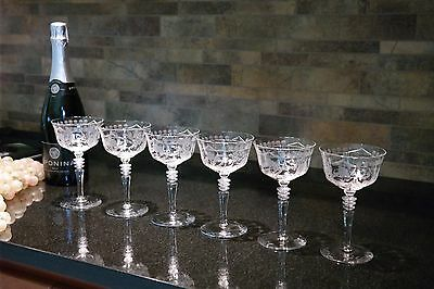 Vintage Etched Champagne Coupe Cocktail Martini Wine Glasses Set of 6