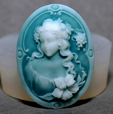 LADY CAMEO  SILICONE MOULD Cupcake polymer clay chocolate resin fimo mold