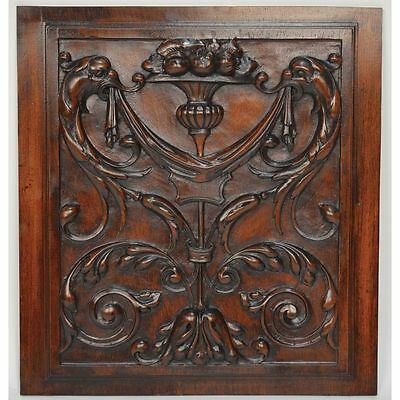 Antique French Architectural Salvaged Carved Walnut Renaissance Panel Dragons...