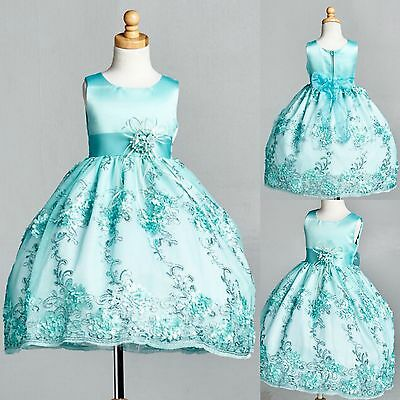 Aqua Floral Satin Embroidery Dress ALL SIZES Holiday Pageant Birthday #09