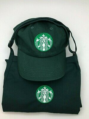 New Logo Starbucks Halloween Costume barista apron and hat set adjustable.