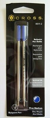 2 X Cross 8511-2 MEDIUM Ballpoint Pen Refills BLUE 2 Pk NEW SEALED