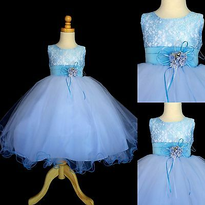 NEW Baby Blue Lace Tulle Dress w/ Fishing Line Flower Girl Dress Birthday #015