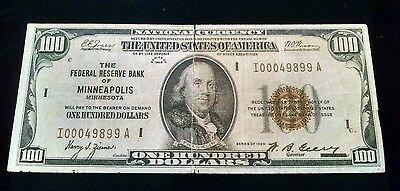 1929 Federal Reserve Bank MINNEAPOLIS MN $100 National Currency Note; *Good*