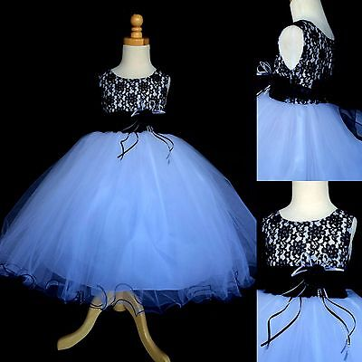 NEW Black Lace Tulle Dress w/ Fishing Line Flower Girl Dress Special #015