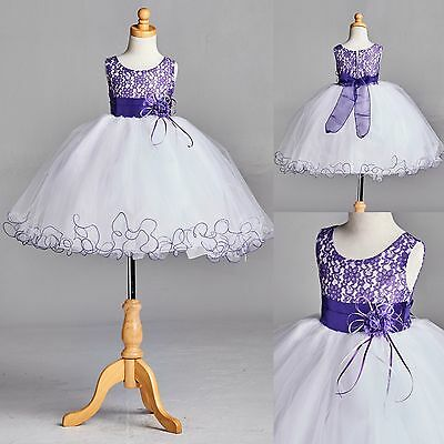 NEW Purple Lace Tulle Dress w/ Fishing Line Flower Girl Birthday Easter #015
