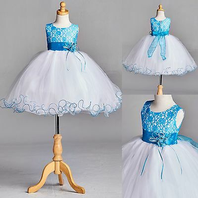 NEW Turquoise Lace Tulle Dress w/ Fishing Line Flower Girl Birthday Easter #15