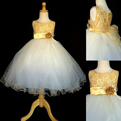 Gold LACE Ivory Tulle Dress Flower Girl Wedding Pageant Christmas Toddler #15