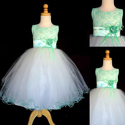 NEW Mint Lace Ivory Tulle Dress w/ Fishing Line Flower Girl Birthday Easter #015