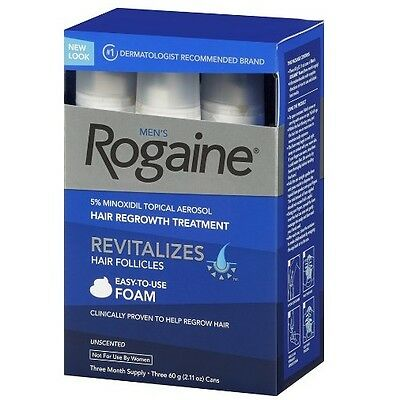 Rogaine Hair Regrowth Men 5% Minoxidil Topical Foam 3 month exp 8/17 (DAMAGED)
