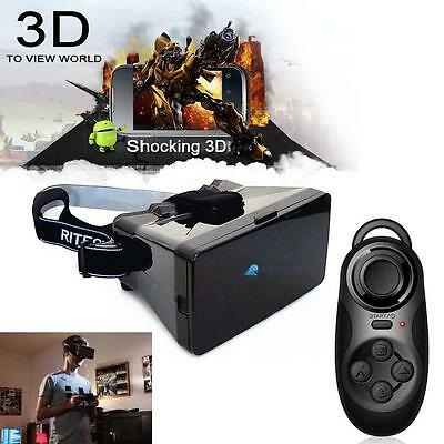 Virtual Reality 3D Glasses Google Cardboard + Bluetooth Controller Gamepad #A