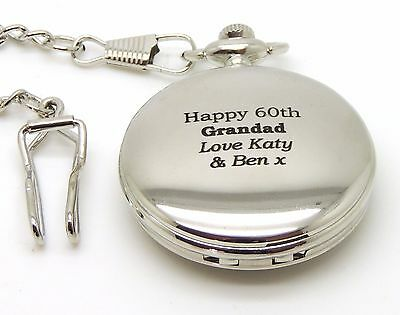 Personalised Engraved Pocket Watch - BOLD TEXT, Best Man, Usher - RED GIFT BOX.