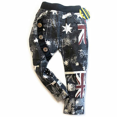 Baby Toddler Kids Elastic Wasit Cool Jeans England Flag Slim Fit Chino 18M-5Y