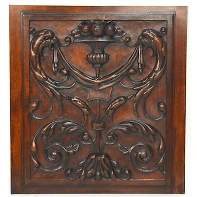 NICE Antique French Architectural Salvaged Carved Walnut Renaissance Panel Fruit