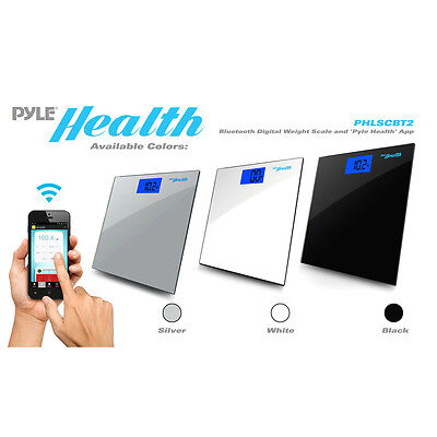 Pyle Smart Bathroom Body Scale with Bluetooth Wireless Smartphone Tracking