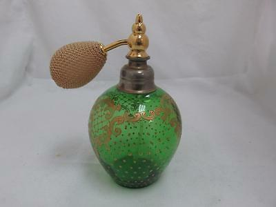 Vintage Green Glass Perfume Bottle Atomizer with Gold Tone Dots and Curls No RSV