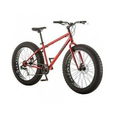 Fat Tire Mountain Bike All Terrain Bicycle 7-Speed Beach Sand Mongoose Red NEW