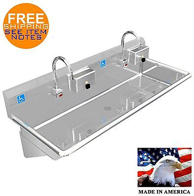 """Ada 2 Station 48"""" Hand Sink Elec Faucet Hands Free 2 Soap Dispenser  Made In Usa"""