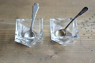 Vintage Crystal salt cellars and spoons Sterling
