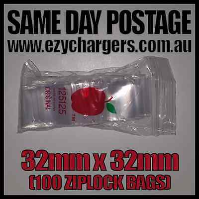 100 Pcs Apple Brand Ziplock Bags 32Mmx32Mm Plastic Seal Resealable