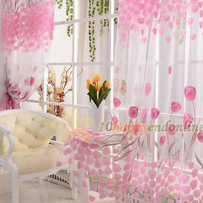 Voile Door Curtain Window Room Drape Divider Totem Floral Scarf Sheer Valance YY