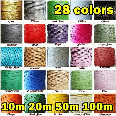 RAFFIA PAPER RIBBON Craft Decoration Flowers Gift Wrapping Packing Many Colours