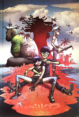 "GORILLAZ PLASTIC BEACH 2010 POSTER 23x34"" Alternative Rock Hip Hop Cartoon Music"