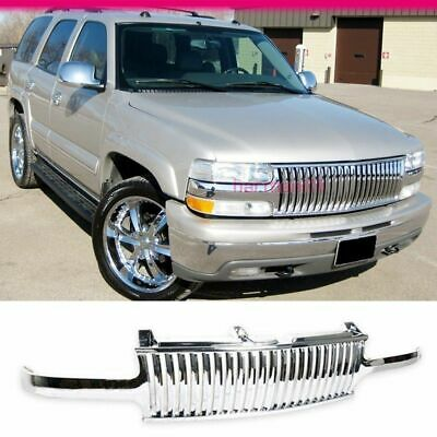 Fits 99-02 Chevy Silverado 00-06 Tahoe Suburban Vertical Front Hood Grill Chrome