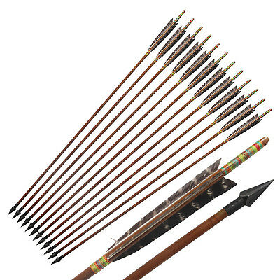 12Pcs Eagle pattern Turkeys Feather Hunting Bamboo Arrows for Archery Longbow