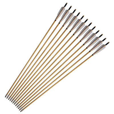 24Pcs White Shield Feathers Traditional Handmade Wooden Arrow for Bow Archery