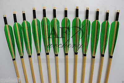 12Pcs Turkey feather Handmade Wooden Arrow For Longbow and recurvebow Archery