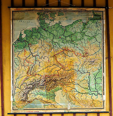 antique school wall chart map from ca. 1930s of Germany 017