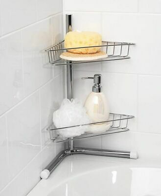 2 Tier Corner Chrome Silver Shelf Storage Shower Bath Bathroom Caddy Organiser