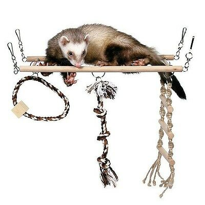 Trixie Rat & Ferret Suspension Bridge with Wooden Ladder Rope Ladder & Toy 6905