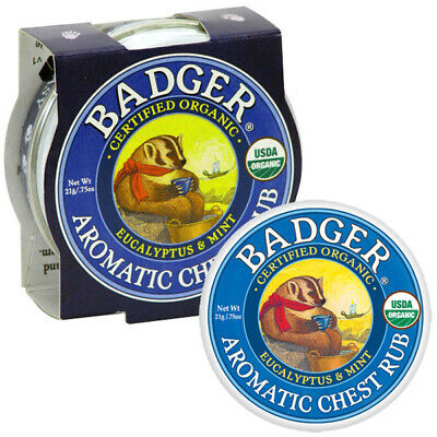 Badger Balm - Organic Aromatic Chest Rub Eucalyptus & Mint 21g