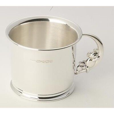 Sterling Silver Christening Cup with Slumbering Teddy Bear Handle. Hand Made