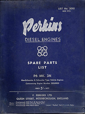 PERKINS Diesel engines SPARE PARTS LIST  P6  MK. 3 N