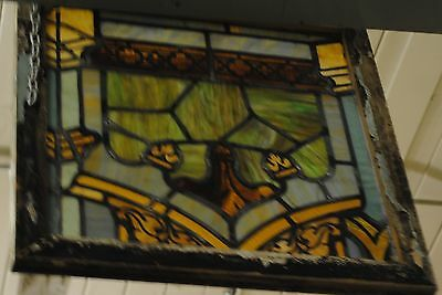 Antique Stained Glass Window,church, Flower,  multi colored, lead, vintage