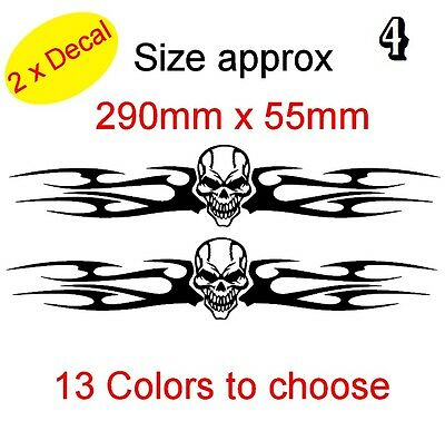 SET 2X TRIBAL FLAME SKULLS Graphic Vinyl Decal Sticker Car, Laptop Bike (REF 4)